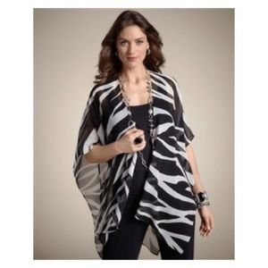 Chico's💕Zebra Print Shawl Ruana Sequin Beaded OS